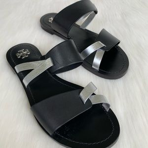 Tory Burch Strappy Slide On Flat Leather Sandals
